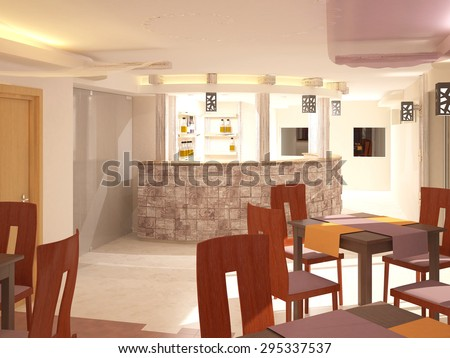 3d rendering of a restaurant interior design