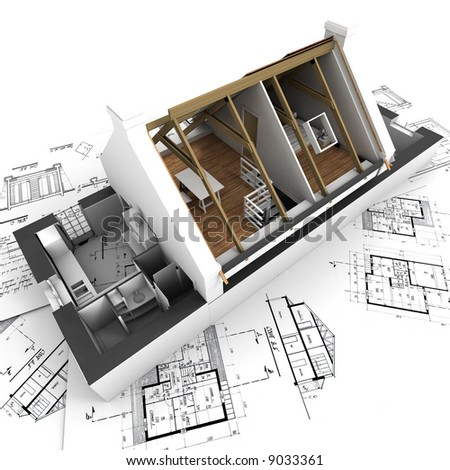 3D rendering of a roofless house on top of architect plans