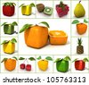 3D rendering of a selection of cubic fruits - stock photo