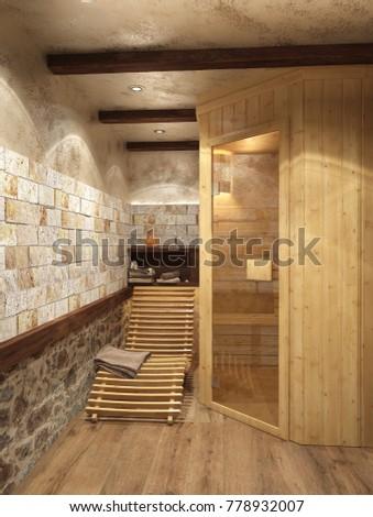 3d rendering of a spa center interior design