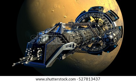 3d rendering of a spaceship flying next to Mars, for futuristic deep space travel, scientific research or science fiction backgrounds. Elements of this illustration furnished by NASA.