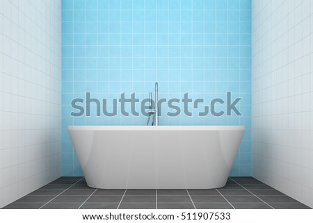 3d rendering of a turquoise bathroom side view to the tub