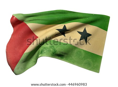 3d rendering of an old and dirty  Democratic Republic of Sao Tome and Principe flag waving on a white background