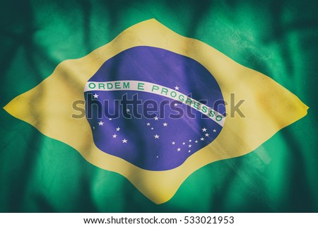 3d rendering of an old Brazil flag waving