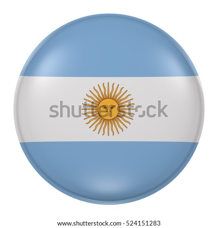 3d rendering of Argentina flag on a button