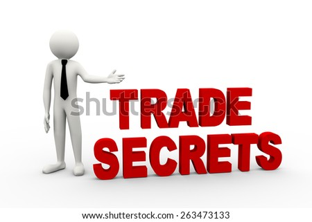 3d rendering of business person presentation of trade secret word. 3d white people man character