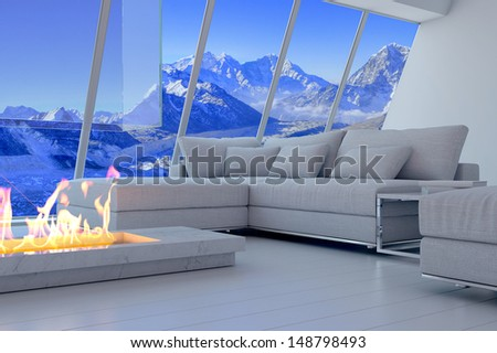 3d Rendering Couch Fireplace Scenery View Stock Illustration ...