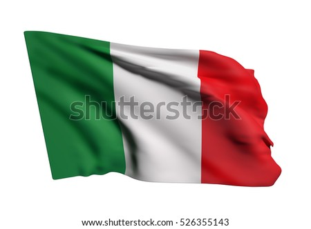 3d rendering of Italy flag waving on white background