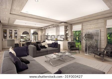 3d Rendering Living Room Kitchen Dining Stock Illustration ...