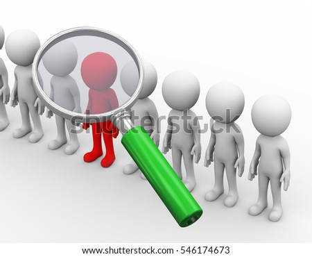 3d rendering of magnifying glass hover over red unique man. 3d white person people man