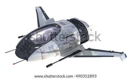 3D Rendering Of Military Drone Or Alien Spacecraft For Science Fiction Interstellar Space Travel Futuristic