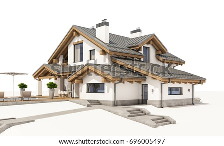 3d isometric view cut residential house stock illustration for Chalet style homes for sale