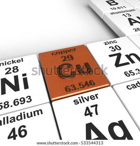 3d rendering of periodic table of elements, focused on copper