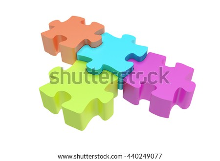 3D rendering of 4 puzzle pieces in various colors - yellow, cyan, orange, pink