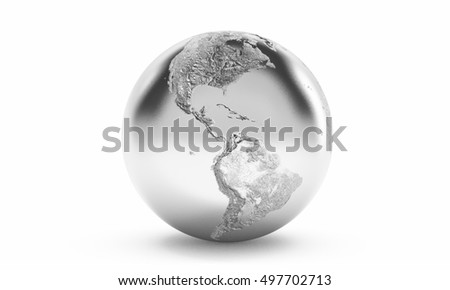 3D rendering of silver earth pointing at north and south America