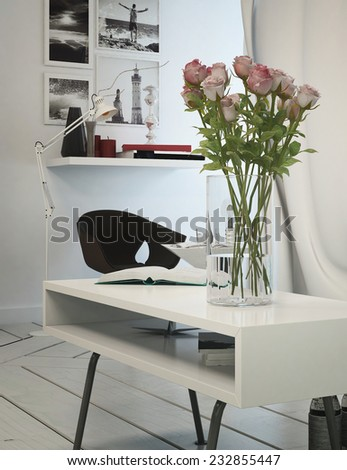 3D Rendering of Small office area in a modern apartment with a table, chair and shelving with artwork on the white wall, tiled white floor and a decorative flower arrangement