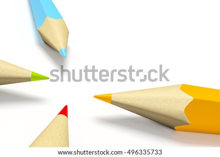 3d rendering of some color pencils with space for your content