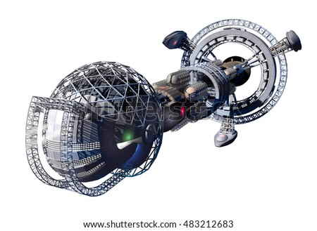 3d rendering of spaceship or space lab for fantasy or interstellar deep space travel backgrounds