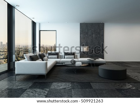 3D rendering of spacious minimalist living room with dark stone tiles and windows facing urban city in the horizon