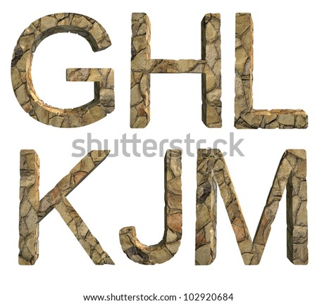 ... the letter G, H, L, K, J, M in stone on a white isolated background