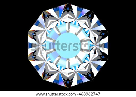 3d rendering of top down diamond with blue inside glow isolated on black background