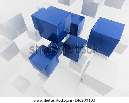 3d rendering of white and blue cubes