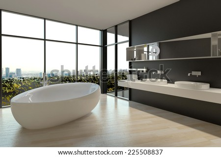 3D Rendering of White Ceramic Bathtub and Sinks on Elegant Bathroom Design with Large Window Styles.
