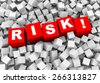 3d rendering of word text risk! and abstract cubes boxes background - stock photo