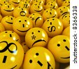 3D rendering of yellow emoticons with different orthographic symbols - stock