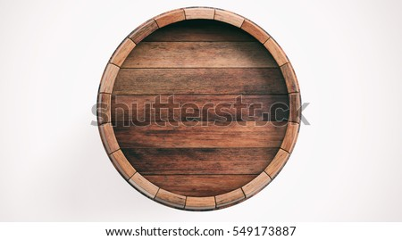 3d rendering old wooden barrel on white background