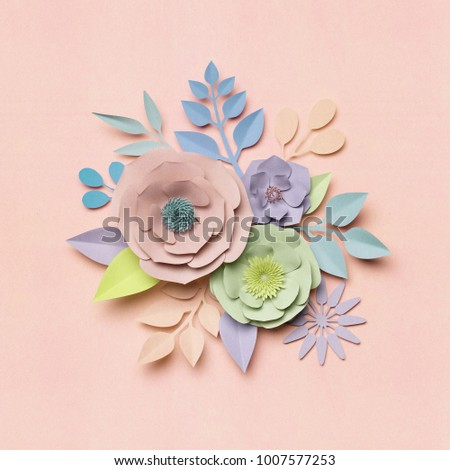 3d Rendering Paper Flowers Pastel Color Palette Botanical Background Isolated Clip Art