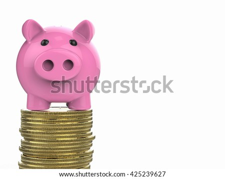 3d rendering piggy bank on golden coin