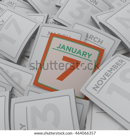 3d rendering random calendar pages january 7