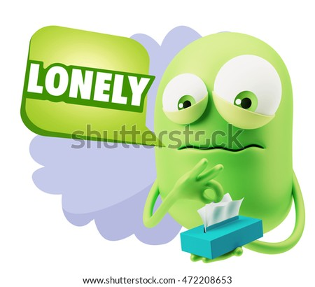 3d Rendering Sad Character Emoticon Expression saying Lonely with Colorful Speech Bubble.