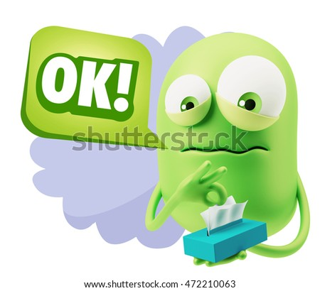 3d Rendering Sad Character Emoticon Expression saying OK with Colorful Speech Bubble.