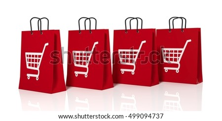 3d rendering shopping cart symbol on shopping bags on white background