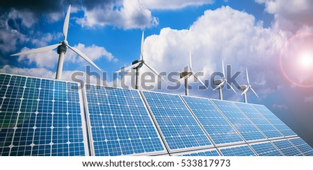 3d rendering solar panels and wind generators on blue sky background