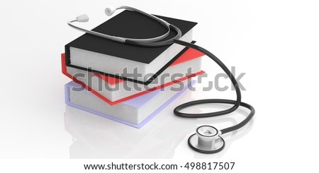3d rendering stethoscope and books on white background