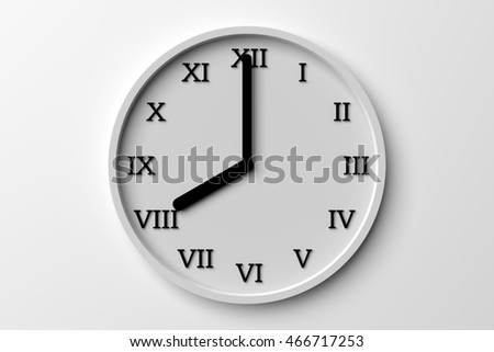 3d rendering wall clock on white background