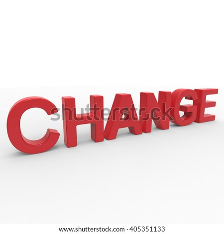 3D rendering word - CHANGE isolated on white background