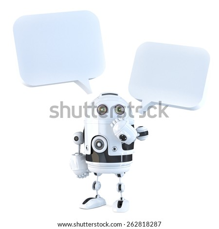 3d robot with chat bubbles. Isolated, contains clipping path.