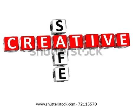 3D Safe Creative Crossword  on white background