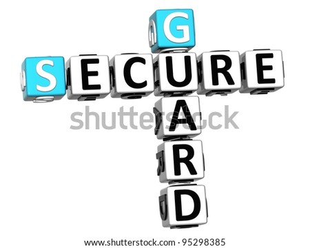 3D Secure Guard Crossword over white background