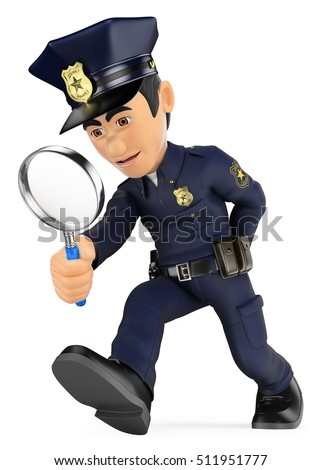 3d security forces people illustration. Policeman looking with a magnifying glass. Investigation. CSI. Isolated white background.
