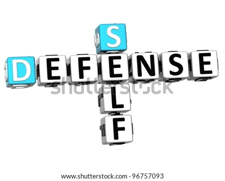 3D Self Defense Crossword cube words on white background - stock photo