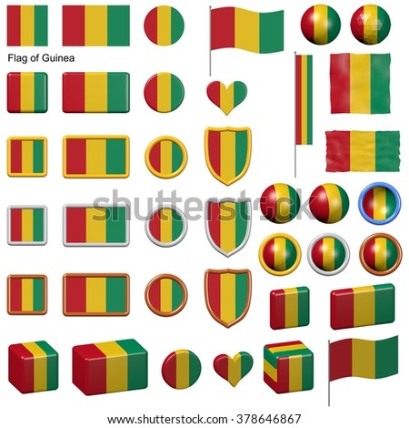 3d shapes containing the flag of Guinea