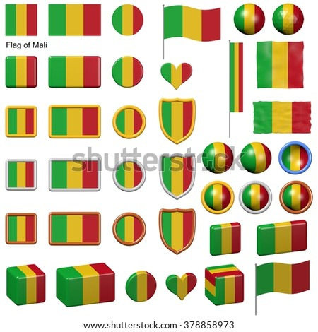 3d shapes containing the flag of Mali