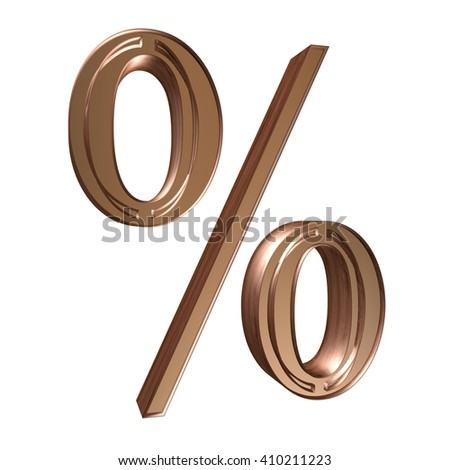 3D Sign of the percentage of metallic bronze color on a white background.