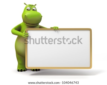 3d small hippo holding a empty board