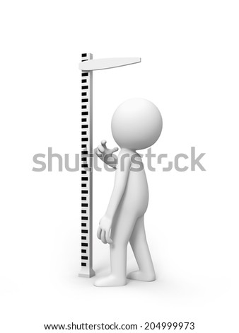 3d small people measuring his height with ruler Isolated on white background